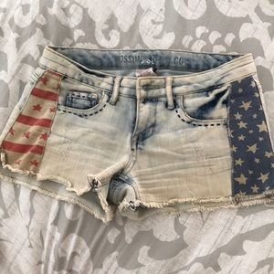 Distressed denim American flag shorts